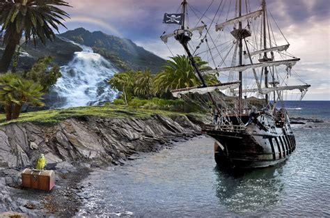 barco pirata goonies sea ship rocks chest parrot pirate waterfall fantasy