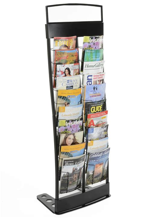 20 pocket magazine rack black portable literature stand