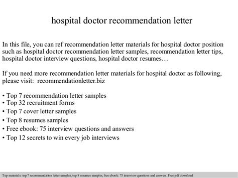 Patient Endorsement Letter Hospital Doctor Recommendation Letter