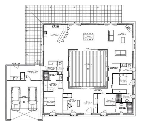 plan maison patio central les 45 meilleures images du tableau maison patio sur