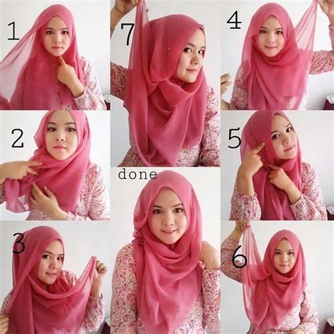 tutorial jilbab segiempat yang simple beautiful pink hijab tutorial for spring hijab fashion