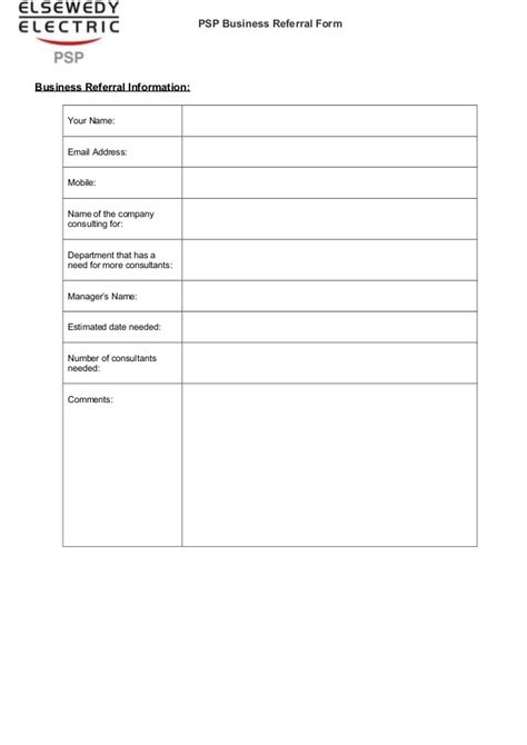 Psp Business Referral Form Business Referral Form Template