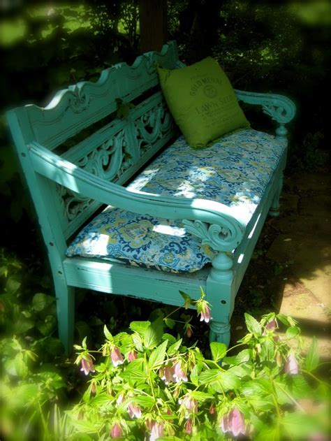 outdoor bench colors turquoise garden bench front yard under maple tree nice