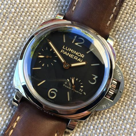 Panerai Power Reserve Silver Brown Leather Automatic panerai luminor 1950 pam 423 47mm 3 days power reserve brown leather w hashtag company