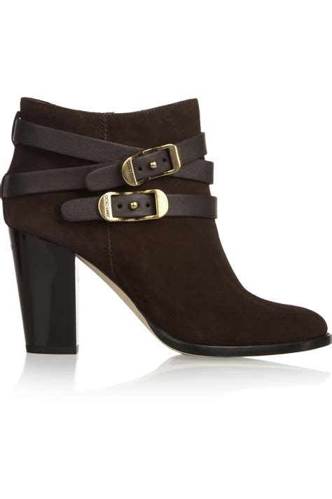 jimmy choo boots jimmy choo melba buckled suede ankle boots in brown lyst