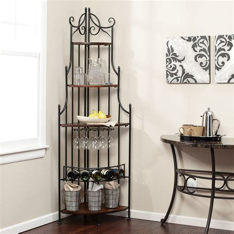 corner bakers rack with wine rack belham living van alen corner bakers rack bakers racks