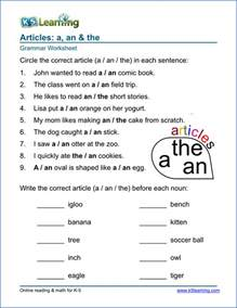 article worksheets for elementary printable