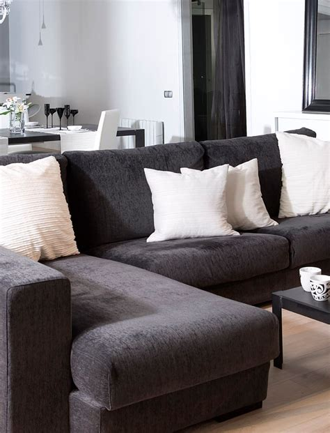 grey and black couch strict black and white apartment interior design loft en