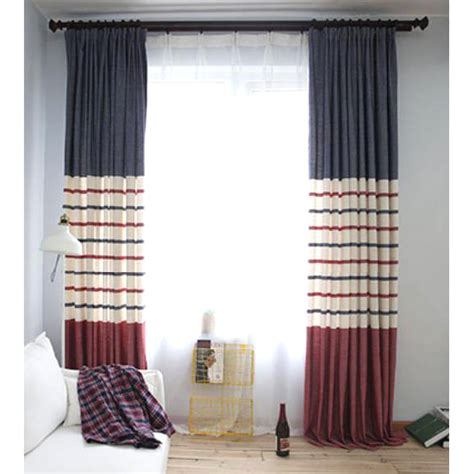 Navy Blue And Red Horizontal Striped Jacquard Burlap Blue Curtains Living Room