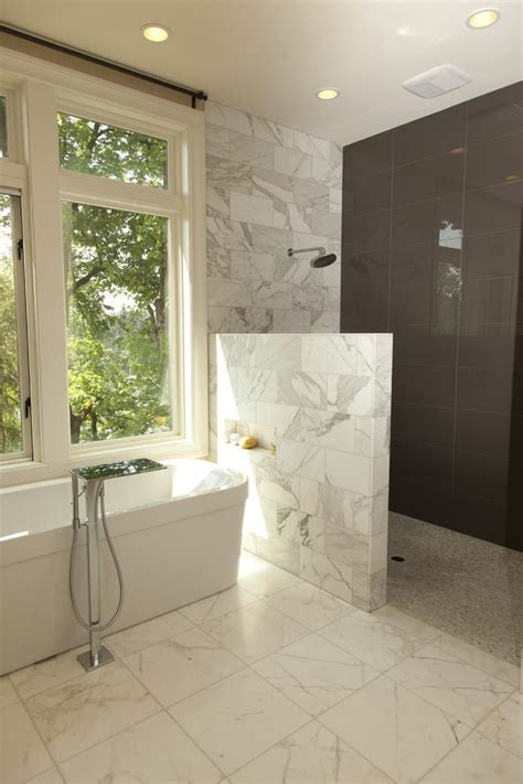 partial wall bathroom contemporary with shower tile round