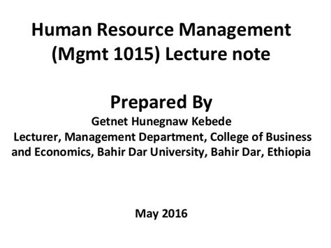 Hrm Lecture Notes For Mba by Hrm Lecture Chapter 1 3