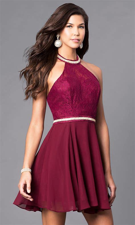 halter open  short homecoming dress promgirl