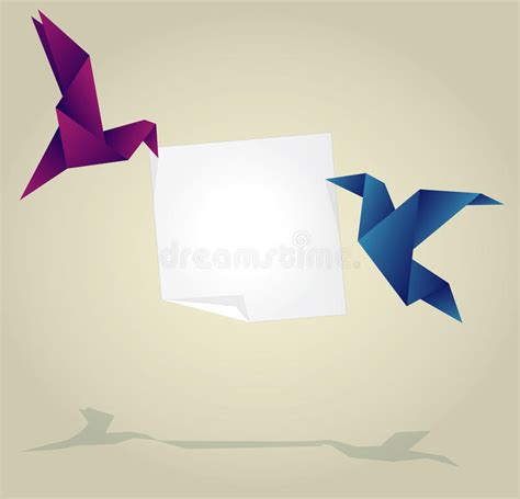 Origami Holding - origami birds holding empty paper banner stock photos