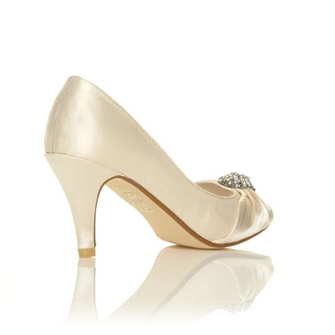 Wedding Shoes With Heel Detail by Ivory White Satin Low Heel Bridal Prom