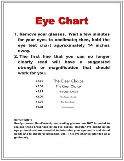 printable eye reading chart reading glasses eyechart strength of magnification