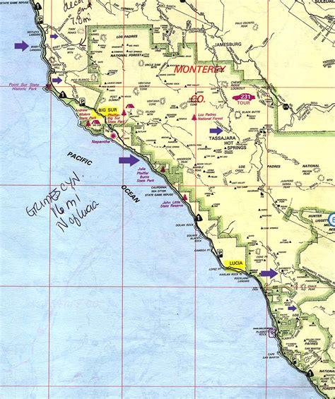 big sur map big sur california map