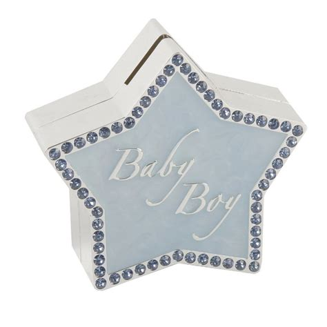 Pale Blue and Diamante Star Shaped Money Box   New Baby Boy Gift