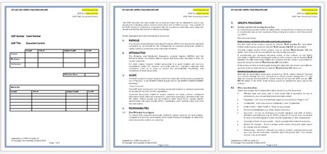 standard operating procedure template word business form