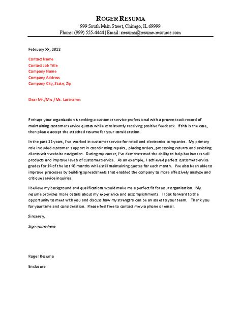 Customer Service Cover Letter Resume Exle Customer Service Cover Letter Exle