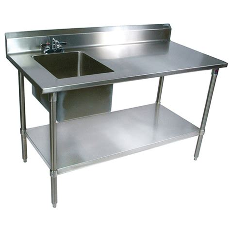 stainless steel work table with sink boos ept6r5 3072gsk l stainless steel prep table with