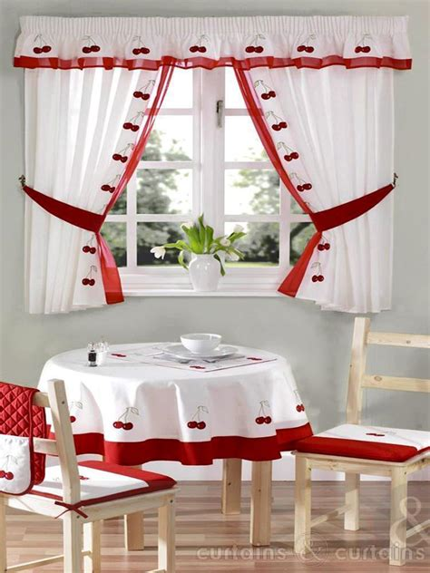 red and white curtains for kitchen red white cherry embroidered kitchen curtain curtains uk