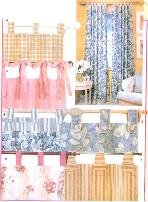 Curtain Sewing Pattern Easy Panels Drapes Tab Top Ties | tab top drapes sewing pattern panels easy casual window