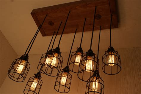Chandelier Edison Bulbs Cage Light Chandelier Cage Lighting By Bornagainwoodworks