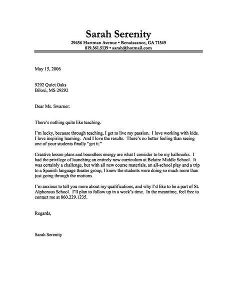 cover letter for a teaching position cover letter exle of a with a for