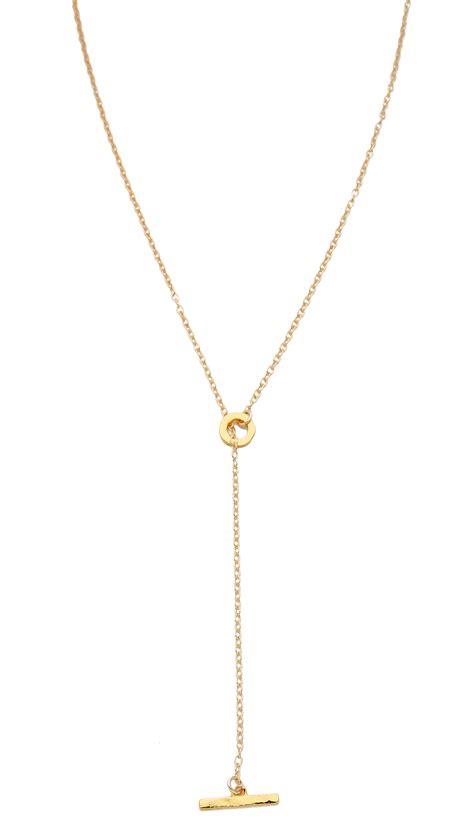 gorjana taner toggle lariat necklace gold in metallic lyst