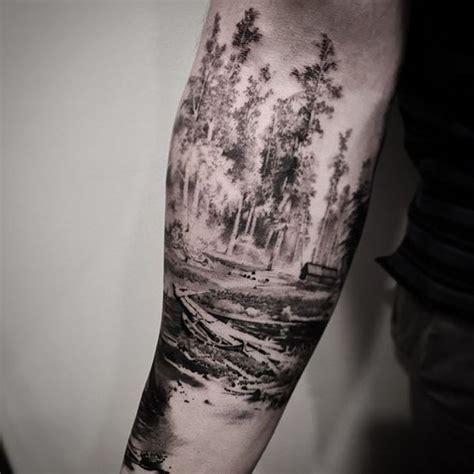 black and grey forest tattoo tree tattoos designs bonsai redwood pine weeping