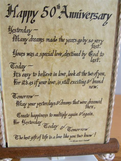 50th wedding anniversary poems from grandchildren happy 50th anniversary poem glass wood wall hanging