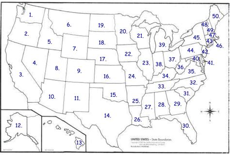map of us states numbered 50 states survey