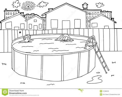 White Backyard Fence - outline swimming pool scene stock vector image 47086033