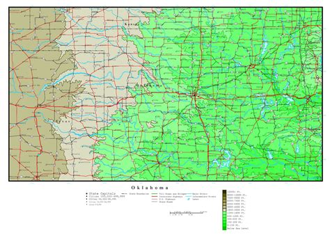 map oklahoma state large detailed elevation map of oklahoma state with roads