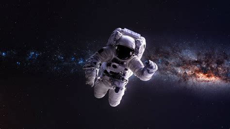 humans colonize outer space astronaut floating stars