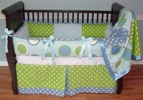 Baby Boy Crib Skirt Blue Dots Crib Set Included In This Custom 3 Pc Baby Crib Bedding Set Is The Bumper