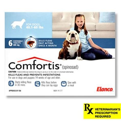 comfortis plus trifexis for dogs comfortis rx 40 1 60 lbs dogs 6 count blue