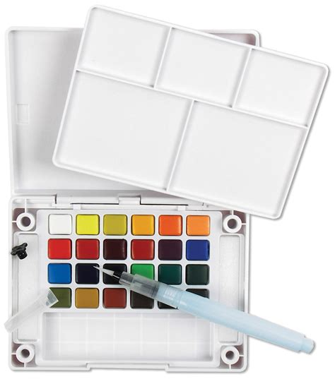koi water colors pocket field sketch box w brush 24 colors jo