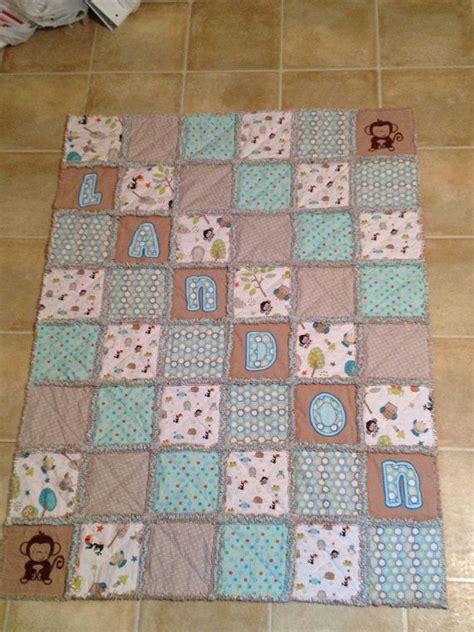 baby boy rag quilt blue brown animals design rag quilts