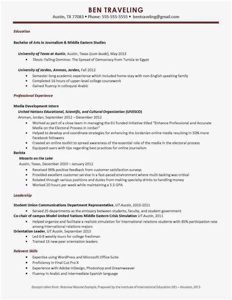 Sle Resume Format For Abroad study abroad on resume resume ideas