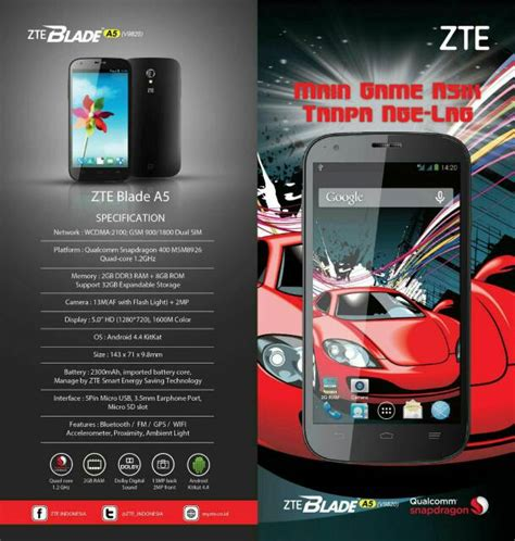 Lcd Zte V9820 zte blade a5 v9820 hp android 4g 5 inch ram 2 gb harga 1