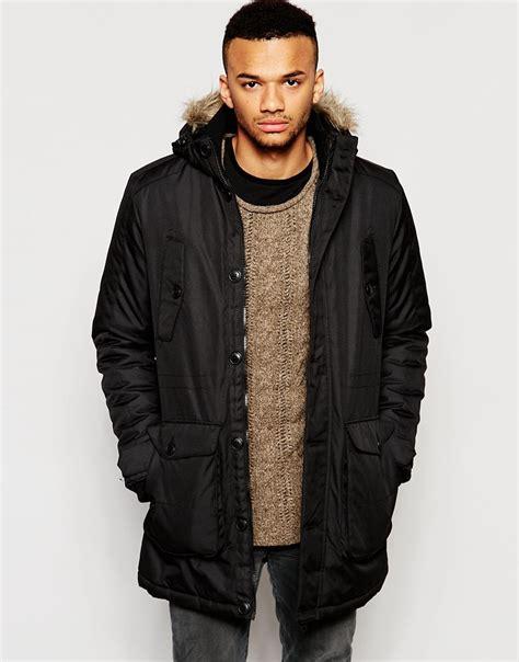 jack jones lyst jack jones core parka with faux fur hood in black