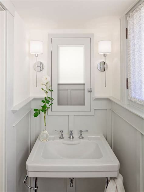 Small Powder Bathroom Ideas Bathrooms Chrome Sconces Fixtures Gray Wainscoting Gray Pedestal Sink Gray Medicine Cabinet
