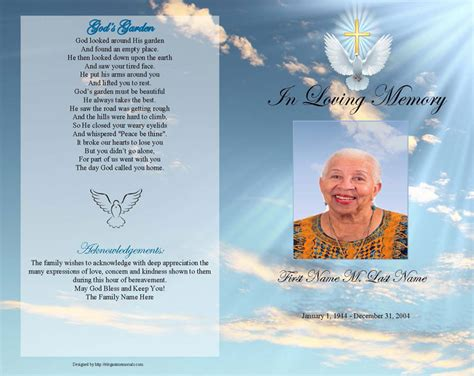 funeral program templates dove gold cross