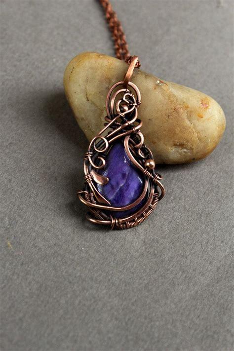 Modern Handmade Jewelry - charoite pendan modern necklace artisan jewelry handmade