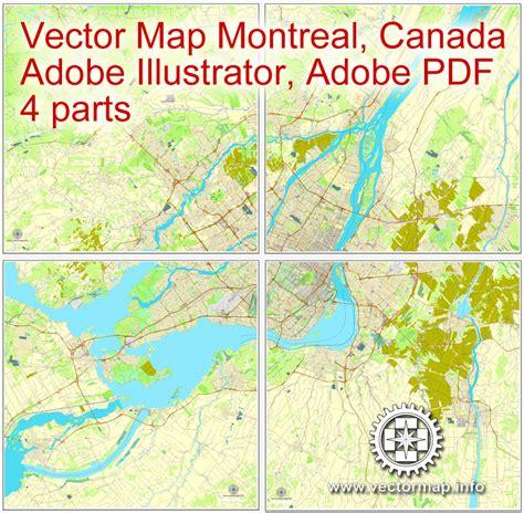 printable map montreal montreal vector map for adobe pdf printable city plan map