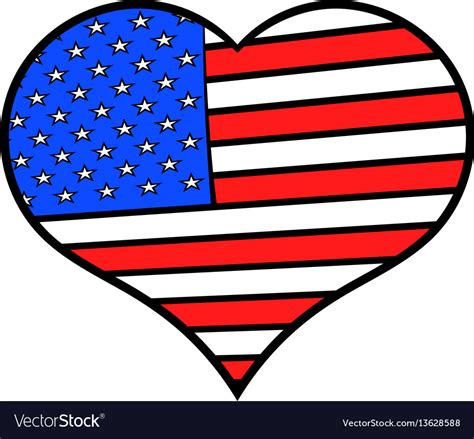 hear colors in the usa flag colors icon vector image
