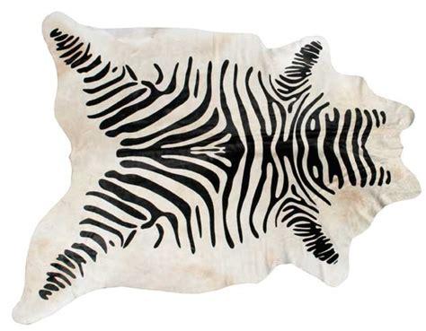 Cowhide Print Rug - cowhide rug stencilled zebra black beige hcd
