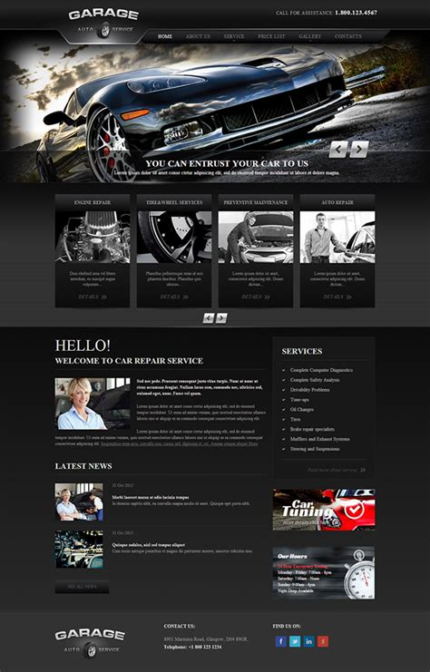 garage website garage car repair service responsive template on