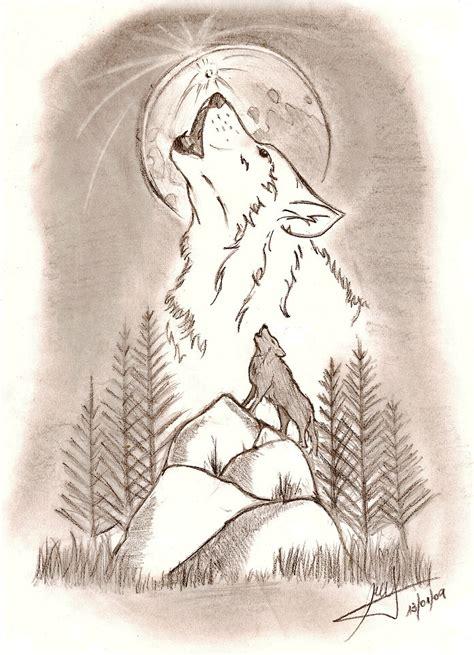 imagenes a lapiz de lobos resultado de imagen para dibujos de lobos y la luna